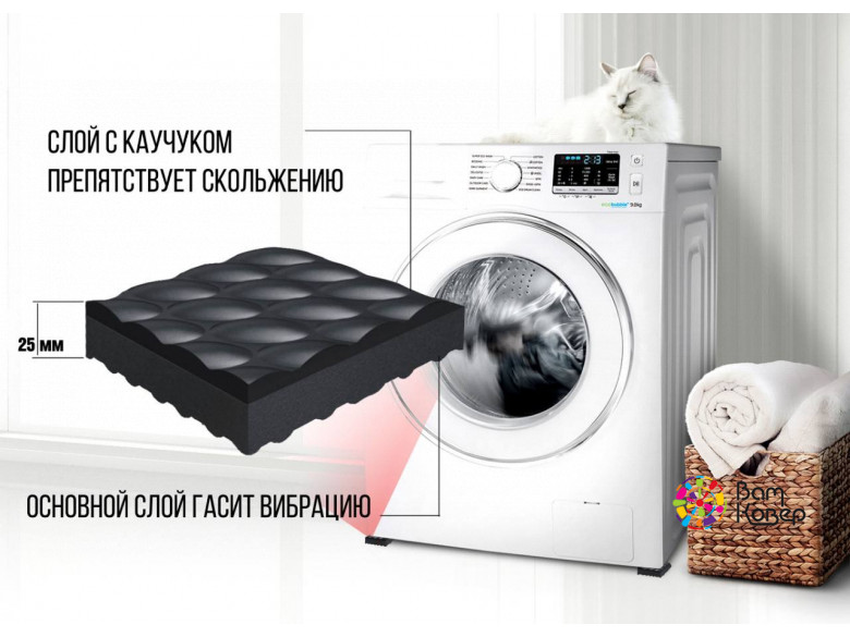 Набор антивибрационных вкладок Mattix-Vibrotex PRO 25 мм 4 шт. (для бытовых стиральных машин)